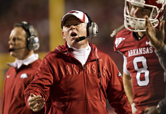 FAYETTEVILLE, AR - NOVEMBER 5:   Head Coach Bobby Petrino of the Arkansas Razorbacks argues a call during a game against the South Carolina Gamecocks at Donald W. Reynolds Stadium on November 5, 2011in Fayetteville, Arkansas.  The Razorbacks defeated the