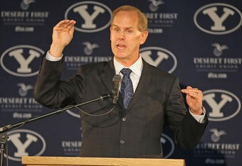 PROVO, UT - SEPTEMBER 1:  BYU  Athletic Director Tom Holmoe announces that BYU football will become independent in football in 2011 separating from the Mountain West Conference, September 1, 2010 in Provo, Utah. The remaining BYU sports will become affili