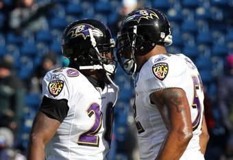 FOXBORO, MA - JANUARY 10:  (L-R) Ed Reed #20 and Ray Lewis #52 of the Baltimore Ravens warm up against the New England Patriots during the 2010 AFC wild-card playoff game at Gillette Stadium on January 10, 2010 in Foxboro, Massachusetts.  (Photo by Jim Ro