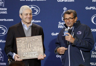STATE COLLEGE, PA - OCTOBER 29:  Joe Paterno receives a plaque celebrating his 409th career win after the game against the Illinois Fighting Illini on October 29, 2011 at Beaver Stadium in State College, Pennsylvania.  The Nittany Lions defeated the Fight
