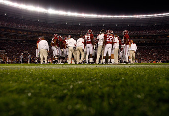 TUSCALOOSA, AL - NOVEMBER 05:  The Alabama Crimson Tide waits through a timeout against the LSU Tigers at Bryant-Denny Stadium on November 5, 2011 in Tuscaloosa, Alabama.  (Photo by Streeter Lecka/Getty Images)