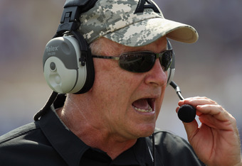 DURHAM, NC - SEPTEMBER 25:  Head coach Rich Ellerson of the Army Black Knights yells to his team against the Duke Blue Devils at Wallace Wade Stadium on September 25, 2010 in Durham, North Carolina.  (Photo by Streeter Lecka/Getty Images)