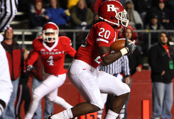 PISCATAWAY, NJ - NOVEMBER 12:  Khaseem Greene #20 of the Rutgers Scarlet Knights intercepts the ball in the endzone against the South Florida Bulls at Rutgers Stadium on November 12, 2009 in Piscataway, New Jersey.  (Photo by Jim McIsaac/Getty Images)