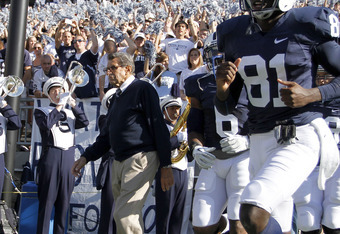 STATE COLLEGE, PA - OCTOBER 8:  Penn State head coach Joe Paterno comes onto the field before the start of the game against the Iowa Hawkeyes on October 8, 2011 at Beaver Stadium in State College, Pennsylvania.  (Photo by Justin K. Aller/Getty Images)