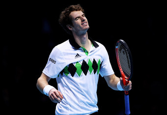 LONDON, ENGLAND - NOVEMBER 27:  Andy Murray of Great Britain reacts to a play during his men's semi-final match against Rafael Nadal of Spain during the ATP World Tour Finals at O2 Arena on November 27, 2010 in London, England.  (Photo by Julian Finney/Ge