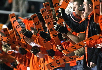 STILLWATER, OK - NOVEMBER 5:  Oklahoma State Cowboys fans cheer during the game against the Kansas State Wildcats on November 5, 2011 at Boone Pickens Stadium in Stillwater, Oklahoma.  Oklahoma State defeated Kansas State 52-45.  (Photo by Brett Deering/G