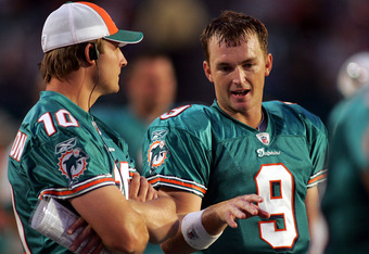 Beck on the sidelines during a preseason game in 2008 with Chad Pennington, who Beck claims he learned a lot from.