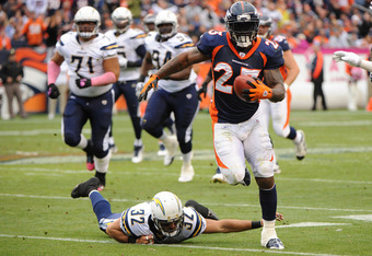DENVER, CO - OCTOBER 9: Willis McGahee #23 of the Denver Broncos rushes the ball against the San Diego Chargers at Sports Authority Field at Mile High on October 9, 2011 in Denver, Colorado. The Chargers won 29-24. (Photo by Bart Young/Getty Images)