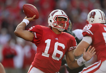 MADISON, WI - NOVEMBER 05: Russell Wilson #16 of the Wisconsin Badgers throws a pass against the Purdue Boilermakers at Camp Randall Stadium on November 5, 2011 in Madison Wisconsin. Wisconsin defeated Purdue 62-17. (Photo by Jonathan Daniel/Getty Images)