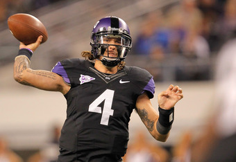 ARLINGTON, TX - OCTOBER 28:  Casey Pachall #4 of the TCU Horned Frogs throws during a game against the BYU Cougars at Cowboys Stadium on October 28, 2011 in Arlington, Texas.  (Photo by Sarah Glenn/Getty Images)