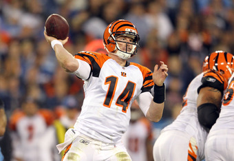 NASHVILLE, TN - NOVEMBER 06:  Andy Dalton #14 of the Cincinnati Bengals throws the ball during the NFL game against the Tennessee Titans at LP Field on November 6, 2011 in Nashville, Tennessee.  The Bengals won 24-17.  (Photo by Andy Lyons/Getty Images)