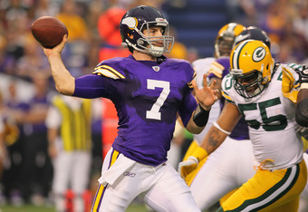 MINNEAPOLIS, MN - OCTOBER 23:  Christian Ponder #7 of the Minnesota Vikings passes the ball against the Green Bay Packers at the Hubert H. Humphrey Metrodome on October 23, 2011 in Minneapolis, Minnesota.  (Photo by Adam Bettcher /Getty Images)