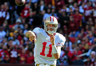 LANDOVER, MD - NOVEMBER 6: Alex Smith #11 of the San Francisco 49ers passes against the Washington Redskins at FedEx Field on November 6, 2011 in Landover, Maryland. (Photo by Scott Cunningham/Getty Images)