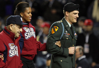 Capt. Odierno in 2009 with Yogi Berra and Michelle Obama