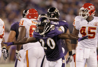 BALTIMORE, MD - AUGUST 19: Safety Ed Reed #20 of the Baltimore Ravens reacts after the Kansas City Chiefs missed a field goal during the first half of a preseason game at M&T Bank Stadium on August 19, 2011 in Baltimore, Maryland.  (Photo by Rob Carr/Gett