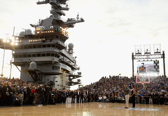 The USS Carl Vinson provided a stellar atmosphere for the Veteran's Day celebration during Friday night's Carrier Classic.