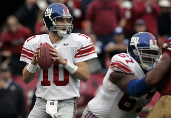 Giants quarterback Eli Manning in second half action as the New York Giants defeated the San Francisco 49ers by a score of 24 to 6 at Monster Park, San Francisco, California, November 6, 2005. (Photo by Robert B. Stanton/NFLPhotoLibrary)