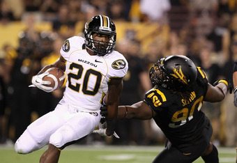 TEMPE, AZ - SEPTEMBER 09:  Runningback Henry Josey #20 of the Missouri Tigers rushes the football during the college football game against the Arizona State Sun Devils at Sun Devil Stadium on September 9, 2011 in Tempe, Arizona. The Sun Devils defeated th