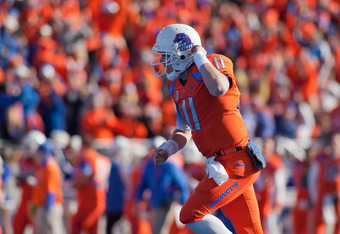 BOISE, ID - NOVEMBER 12:  Kellen Moore #11 of the Boise State Broncos celebrates after a touchdown pass against the TCU Horned Frogs at Bronco Stadium on November 12, 2011 in Boise, Idaho.  (Photo by Otto Kitsinger III/Getty Images)