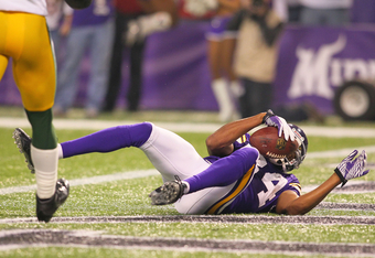 MINNEAPOLIS, MN - OCTOBER 23:  Michael Jenkins #84 of the Minnesota Vikings scores a touchdown against the Green Bay Packers at the Hubert H. Humphrey Metrodome on October 23, 2011 in Minneapolis, Minnesota.  (Photo by Adam Bettcher /Getty Images)