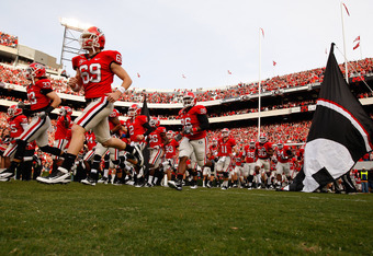 ATHENS, GA - NOVEMBER 12:  The Georgia Bulldogs enter the field to face the Auburn Tigers at Sanford Stadium on November 12, 2011 in Athens, Georgia.  (Photo by Kevin C. Cox/Getty Images)