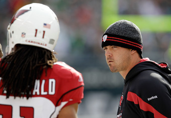 A frustrated Kevin Kolb watches from the sidelines as the Arizona Cardinals beat his former team.