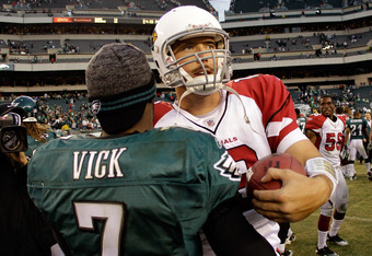 Skelton appears to have the respect of fellow passers, as Michael Vick congratulates him following the win in Philadelphia.