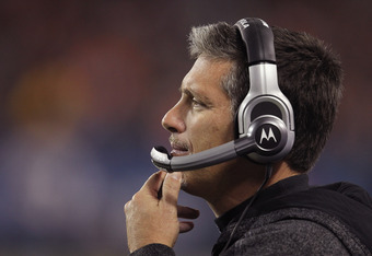 CHICAGO, IL - NOVEMBER 13: Head coach Jim Schwartz of the Detroit Lions watches as his team takes on the Chicago Bears at Soldier Field on November 13, 2011 in Chicago, Illinois. The Bears defeated the Lions 37-13. (Photo by Jonathan Daniel/Getty Images)