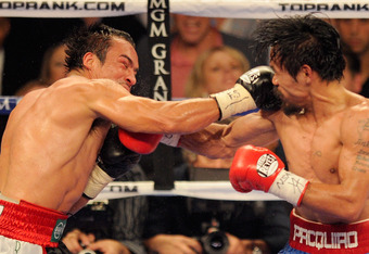 While Pacquiao was able to nearly shut the right eye of Marquez, the right hand of Marquez seemed to find a home on Pacquiao's face much of the evening.