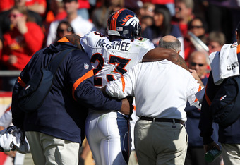 KANSAS CITY, MO - NOVEMBER 13:  Willis McGahee #23 of the Denver Broncos is helped off the field after an injury during the game against the Kansas City Chiefs on November 13, 2011 at Arrowhead Stadium in Kansas City, Missouri.  (Photo by Jamie Squire/Get