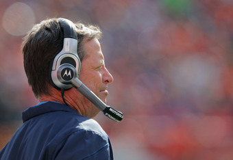 DENVER, CO - OCTOBER 09:  Head coach Norv Turner of the San Diego Chargers leads his team to a 29-24 victory over the Denver Broncos at Sports Authority Field at Mile High on October 9, 2011 in Denver, Colorado.  (Photo by Doug Pensinger/Getty Images)