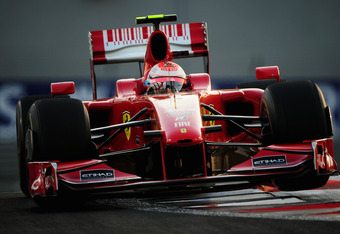 ABU DHABI, UNITED ARAB EMIRATES - NOVEMBER 01:  Kimi Raikkonen of Finland and Ferrari drives during the Abu Dhabi Formula One Grand Prix at the Yas Marina Circuit on November 1, 2009 in Abu Dhabi, United Arab Emirates.  (Photo by Clive Mason/Getty Images)
