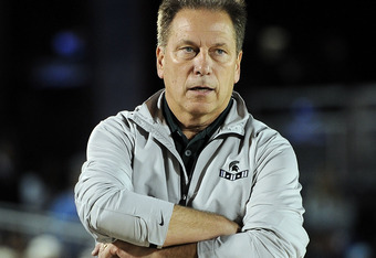 CORONADO, CA - NOVEMBER 11: Head coach Tom Izzo of the Michigan State Spartans watches as his team loses to the North Carolina Tar Heels 67-55 during the Quicken Loans Carrier Classic on board the USS Carl Vinson on November 11, 2011 in Coronado, Californ