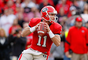 ATHENS, GA - NOVEMBER 12:  Aaron Murray #11 of the Georgia Bulldogs looks to pass against the Auburn Tigers at Sanford Stadium on November 12, 2011 in Athens, Georgia.  (Photo by Kevin C. Cox/Getty Images)