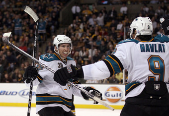 BOSTON, MA - OCTOBER 22:  Logan Couture #39 of the San Jose Sharks celebrates his goal with teammate Martin Havlat #9 in the second period against the Boston Bruins on October 22, 2011 at TD Garden in Boston, Massachusetts.  (Photo by Elsa/Getty Images)