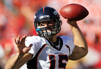KANSAS CITY, MO - NOVEMBER 13:  Quarterback Tim Tebow #15 of the Denver Broncos warms up prior to the game against the Kansas City Chiefs on November 13, 2011 at Arrowhead Stadium in Kansas City, Missouri.  (Photo by Jamie Squire/Getty Images)