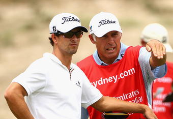 Adam Scott with caddie Steve Williams