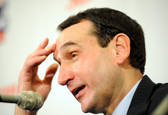 NEW YORK, NY - NOVEMBER 15:  Head coach Mike Krzyzewski of the Duke Blue Devils speaks at a press conference after defeating the Michigan State Spartans during the 2011 State Farm Champions Classic at Madison Square Garden on November 15, 2011 in New York