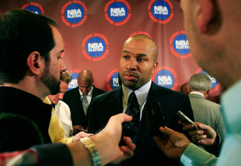 NEW YORK, NY - NOVEMBER 14:  Derek Fisher, President of the National Basketball Players Association speaks to the media after a press conference after National Basketball Players Association  met to discuss the current CBA offer at Westin Times Square on