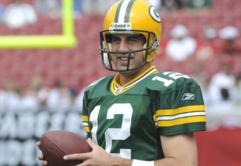 TAMPA, FL - SEPTEMBER 28:  Quarterback Aaron Rodgers #12 of the Green Bay Packers  warms up before play against the Tampa Bay Buccaneers at Raymond James Stadium on September 28, 2008 in Tampa, Florida.  (Photo by Al Messerschmidt/Getty Images)