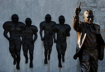 STATE COLLEGE, PA - NOVEMBER 12:  Former Penn State football coach Joe Paterno statue stands alone before the Penn State against Nebraska football game at Beaver Stadium on November 12, 2011 in State College, Pennsylvania. Head football coach Joe Paterno