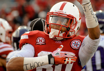 LINCOLN, NE - NOVEMBER 05: wide receiver Kenny Bell #80 of the Nebraska Cornhuskers celebrates a late game touchdown during their game against the Northwestern Wildcats at Memorial Stadium November 5, 2011 in Lincoln, Nebraska.  Northwestern beat Nebraska