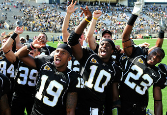 NASHVILLE, TN - SEPTEMBER 17:  Casey Hayward #19, Larry Smith #10 and Andre Hal #23 of the Vanderbilt Commodores celebrate after a win against the Ole Miss Rebels at Vanderbilt Stadium on September 17, 2011 in Nashville, Tennessee. Vanderbilt won 30-7.  (