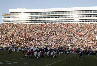 STATE COLLEGE, PA - NOVEMBER 12:  The Penn State Nittany Lions and the Nebraska Cornhuskers line up during the game on November 12, 2011 at Beaver Stadium in State College, Pennsylvania.  Nebraska won 17-14. (Photo by Justin K. Aller/Getty Images)
