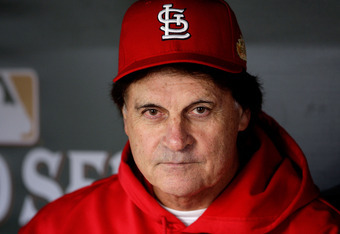 ST LOUIS, MO - OCTOBER 27:  Manager Tony La Russa sits in the dugout prior to Game Six of the MLB World Series against the Texas Rangers at Busch Stadium on October 27, 2011 in St Louis, Missouri.  (Photo by Jamie Squire/Getty Images)