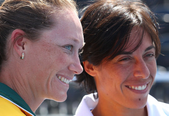 HOBART, AUSTRALIA - FEBRUARY 04:  Samantha Stosur of Australia and Francesca Schiavone of Italy look on during the official draw for the Fed Cup tie between Australia and Italy at Domain Tennis Centre on February 4, 2011 in Hobart, Australia.  (Photo by S