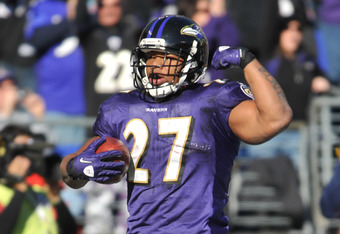 BALTIMORE - OCTOBER 30:  Ray Rice #27 of the Baltimore Ravens celebrates his third touchhdown against the Arizona Cardinals at M&T Bank Stadium on October 30. 2011 in Baltimore, Maryland. The Ravens defeated the Cardinals 30-27. (Photo by Larry French/Get
