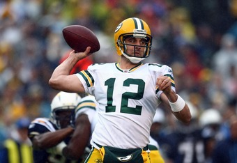 SAN DIEGO - NOVEMBER 6:  Quarterback Aaron Rodgers #12 of the Green Bay Packers throws from the pocket against the San Diego Chargers on November 6, 2011 at Qualcomm Stadium in San Diego, California.  (Photo by Donald Miralle/Getty Images)