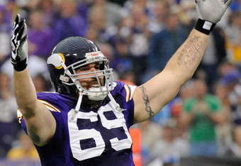 MINNEAPOLIS, MN - SEPTEMBER 25: Jared Allen #69 of the Minnesota Vikings celebrates during the game against the Detroit Lions on September 25, 2011 at Hubert H. Humphrey Metrodome in Minneapolis, Minnesota. (Photo by Hannah Foslien/Getty Images)