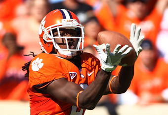 CLEMSON, SC - OCTOBER 22:  Sammy Watkins #2 of the Clemson Tigers hauls in a second half touchdown against the North Carolina Tar Heels during their game at Memorial Stadium on October 22, 2011 in Clemson, South Carolina.  (Photo by Scott Halleran/Getty I